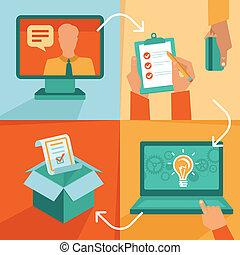 vector, freelance, werken, -, jo, voortgang