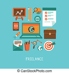 Vector freelance work concept - icons and sign in flat style
