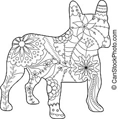 french bulldog coloring - Vector french bulldog coloring