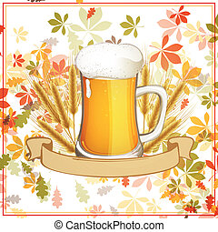 Vector Fresh Beer with a Ribbon