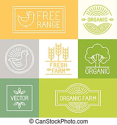 Vector fresh farm and free range labels and badges in trendy linear style - icons and signs for food industry