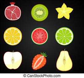 Vector fresh fruits, vegetables cut in half, cross section. Set of cute and colorful collection icons isolated on a black background - pear, watermelon, lime, lemon, pomegranate, kiwi, strawberry, watermelon, pomegranate