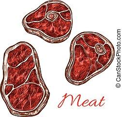 Vector fresh meat beefsteak filet vector sketch - Meat ...