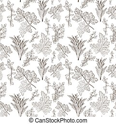 Vector fresh parsley, thyme and rosemary herbs. Aromatic leaves used to season meats, poultry, stews, soups, Bouquet granny. Seamless pattern