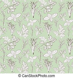 Vector fresh parsley, thyme, rosemary, and basil herbs. Aromatic leaves used to season meats, poultry, stews, soups, Bouquet granny. Seamless pattern