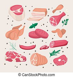 Vector Fresh Pieces of Raw Meat, Chicken, Sausage, Rib Eye, ...