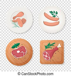 Vector Fresh Pieces of Raw Meat, Chicken Wing, Drumstick, ...