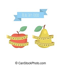 Vector Fresh red apple and green pear with measuring tape isolated on white background