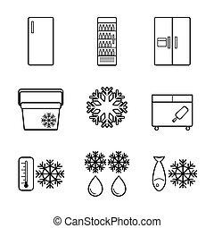 Vector fridge line icons set