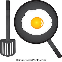 vector fried egg in a pan and spatula