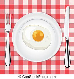 vector fried egg on a plate whith fork and knife
