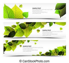 vector, fris, lente, horizontale banners