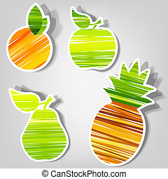 vector, fris, set, stickers., fruit