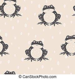 Vector Frogs on Spots in Beige seamless pattern background.