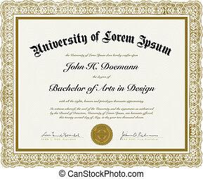 vector, frontera, diploma, florido