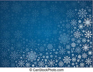 Blue background from frosty snowflakes, vector pattern