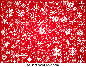 Vector frosty snowflakes background - Red background from...
