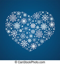 Vector frosty snowflakes in heart shape