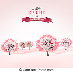 vector., fruehjahr, blühen, sakura, hintergrund, bäume.