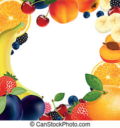 Vector fruit background - Vector background with different...