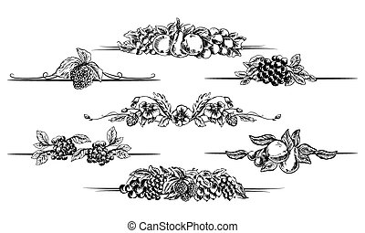 Vector fruit foliage page dividers