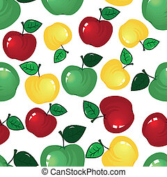 Apple seamless background - Vector fruit icon. Apple...