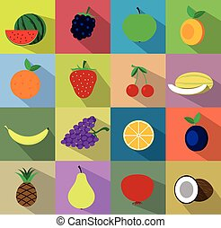 Vector fruit icon set. Vector