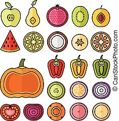 Vector fruit icons set. Thin line