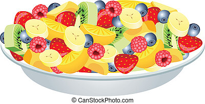 vector fruit salad of kiwi, strawberry, blueberry, raspberries, banana, orange and peach
