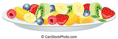 vector fruit salad on a plate