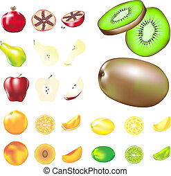 Vector fruit set - Fruit - whole, slices, and wedges - in...