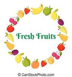 Vector fruits and berrie in a ring form with place for text. Vector illustration