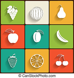 Vector fruits flat icon set