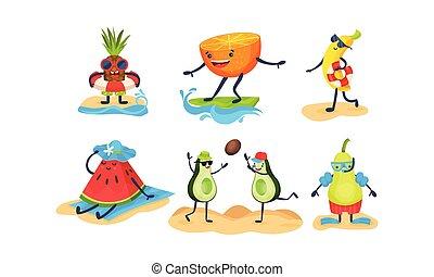 vector, fruits, humanized, blanco, ilustración, fondo., ir,...