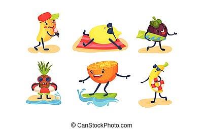 vector, fruits, humanized, blanco, ilustración, fondo.,...