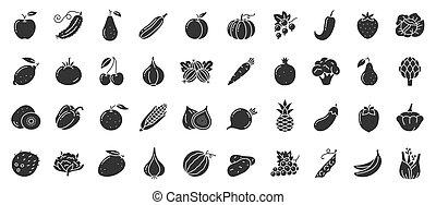 vector, fruta, alimento, glyph, conjunto, vegetal, icono, baya