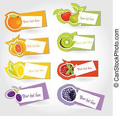 vector, fruta, pegatina, conjunto