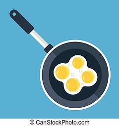 Vector frying pan and fried eggs