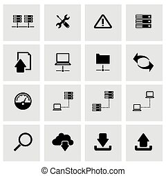 vector, ftp, set, black , pictogram