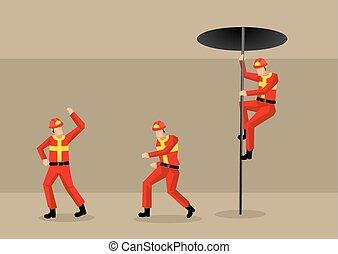 vector, fuego, ilustración, estación, bomberos, caricatura