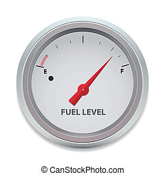 Vector illustration of a fuel gauge on white