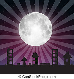 Vector Full Moon Illustration with Stars above City