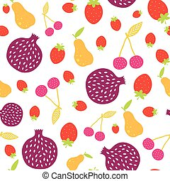 Vector Fun Colorful Fruit Seamless Pattern