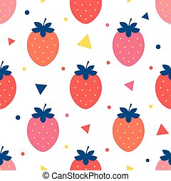 Vector fun strawberries seamless pattern background