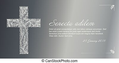 Vector Funeral card template - Funeral card template with...