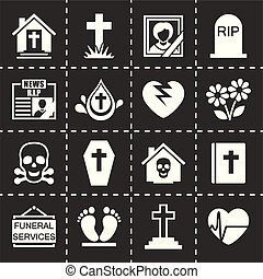 Vector Funeral icon set on black background