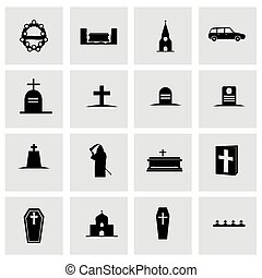 Vector funeral icon set