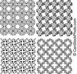 vector funky geometrical seamless patterns set