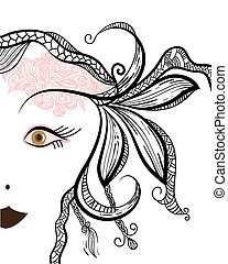 funky woman's face with floral ornament