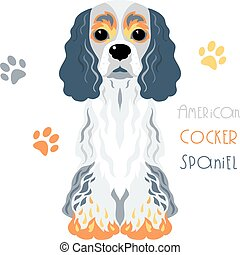 Vector funny American Cocker Spaniel dog sitting - Cute...